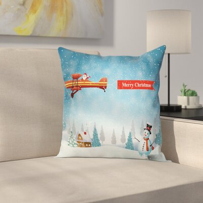 Christmas Santa Plane Snowman Square Pillow Cover Size: 16 x 16