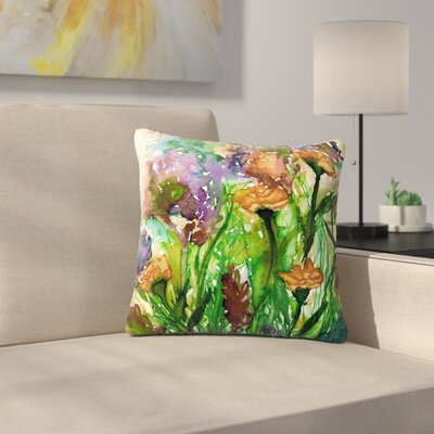 Ebi Emporium Floral Insurgence Outdoor Throw Pillow Size: 18 H x 18 W x 5 D, Color: Pink/Purple