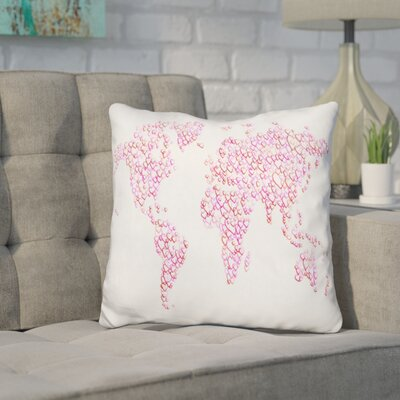 Corlew World Map Hearts Throw Pillow