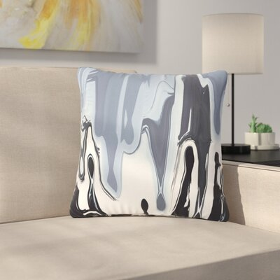 Nina May Drip Outdoor Throw Pillow Color: Black/White, Size: 18 H x 18 W x 5 D