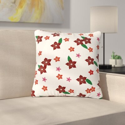 NL Designs Holiday Floral Pattern Outdoor Throw Pillow Size: 16 H x 16 W x 5 D
