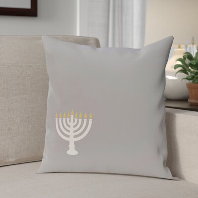 Holiday Geometric Print Eight Days of Light Throw Pillow Size: 18 H x 18 W, Color: Grey