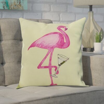 Carmack Single Flamingo Throw Pillow Color: Light Green, Size: 26 x 26