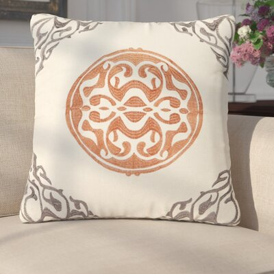 Behling Medallion Throw Pillow Color: Gray/Coral