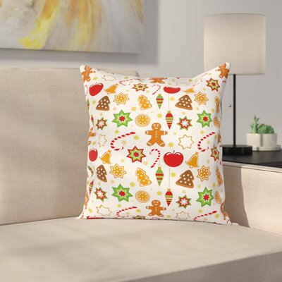 Gingerbread Man Festive Icons Square Pillow Cover Size: 20 x 20