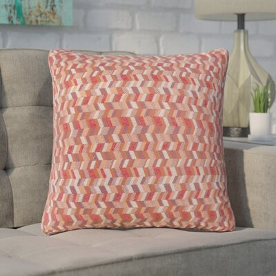 Creel Chevron Throw Pillow Color: Geranium