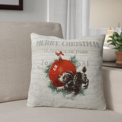 Konner Christmas Puppy Outdoor Throw Pillow Size: 18 x 18