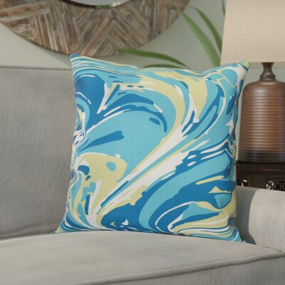 Willa Marble Blend Geometric Outdoor Throw Pillow Size: 20 H x 20 W, Color: Turquoise