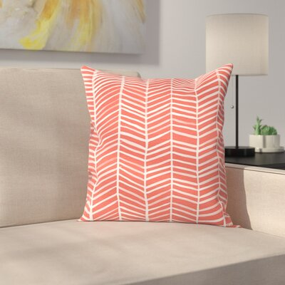 Coral Herring Bone Throw Pillow Size: 18 x 18
