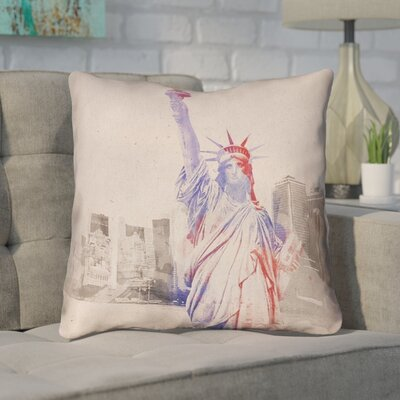 Houck Watercolor Statue of Liberty Leather/Suede Throw Pillow Size: 26 H x 26 W