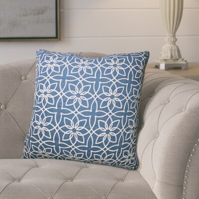Isoline Embroidered Throw Pillow Color: Baltic Blue