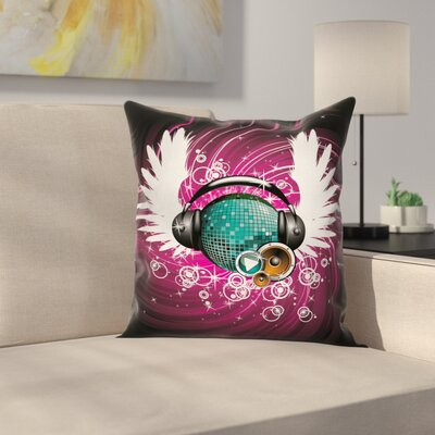 Disco Ball Music Square Pillow Cover Size: 24 x 24