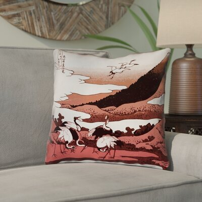 Montreal Japanese Cranes Square Throw Pillow Size: 20 x 20