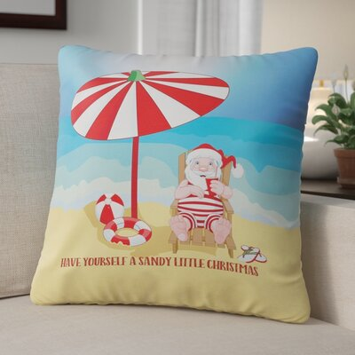 Beach Santa Christmas Throw Pillow