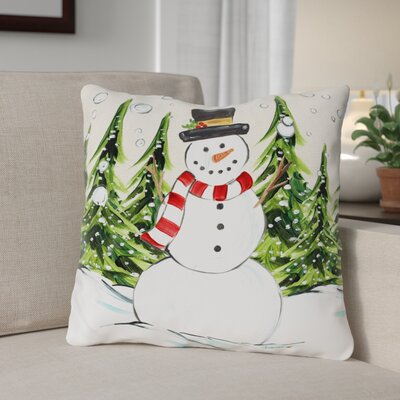 Jolly Snowman Throw Pillow Size: 18 x 18
