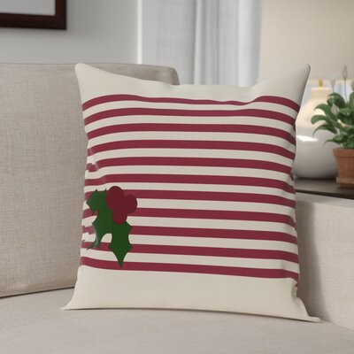 Holly Stripe Decorative Throw Pillow Size: 16 H x 16 W, Color: Cranberry / Burgundy
