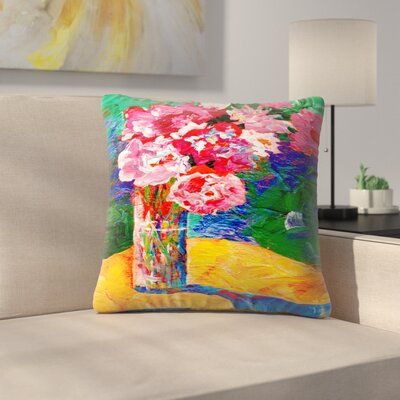 Sunshine Taylor Flowers Background Indoor/Outdoor Throw Pillow Size: 18 x 18