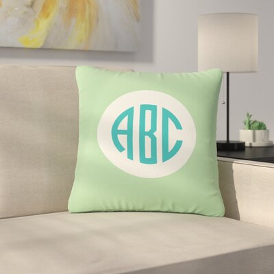Classic Circle Monogram Typography Outdoor Throw Pillow Size: 16 H x 16 W x 5 D, Color: Teal