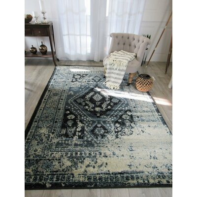 Wilke Blue/Black Area Rug Rug Size: Rectangle 5 x 8