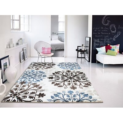Baypoint Modern Foyer Blue/Black Area Rug Rug Size: Rectangle 8 x 11