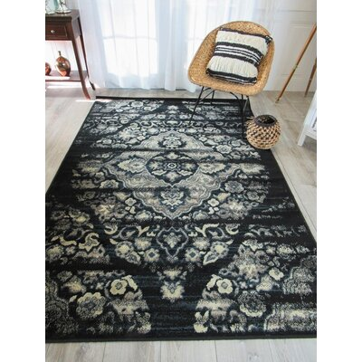 Picard Foyer Black/Gray Area Rug Rug Size: Runner 2 x 8