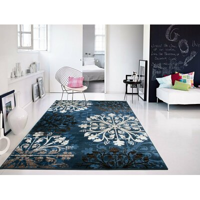 Bardy Navy Blue/Black Area Rug Rug Size: Rectangle 5 x 8