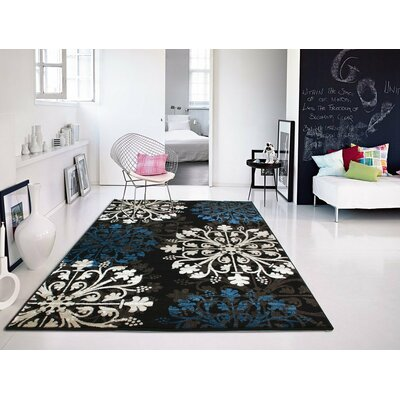 Bayswater Persian Black/Blue Area Rug Rug Size: Rectangle 5 x 8