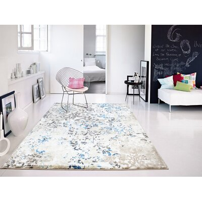 Leday Foyer Blue/Cream Area Rug Rug Size: Rectangle 5 x 8