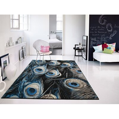 Willoughby Black/Blue Area Rug Rug Size: Rectangle 5 x 8