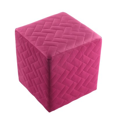 Grayson Brick Quilted Cube Ottoman Upholstery: Fuchsia