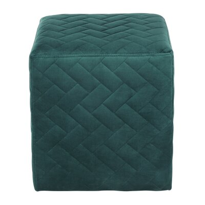 Grayson Brick Quilted Cube Ottoman Upholstery: Hunter Green