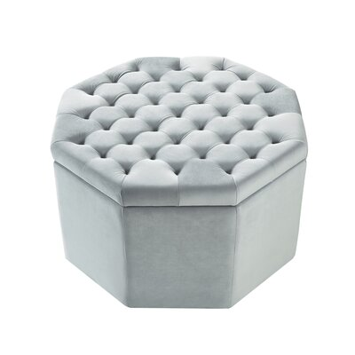 Protagoras Storage Ottoman Upholstery: Light Gray/Velvet, Size: Large