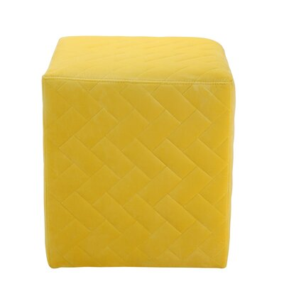 Grayson Brick Quilted Cube Ottoman Upholstery: Yellow