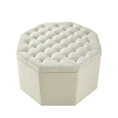 Protagoras Storage Ottoman Upholstery: Cream White/Linen, Size: Large