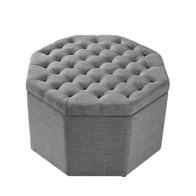Protagoras Storage Ottoman Upholstery: Light Gray/Linen, Size: Large