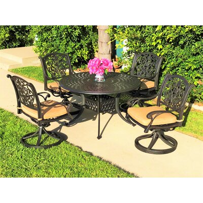 Image of Camptown 5 Piece Sunbrella Dining Set with Cushions