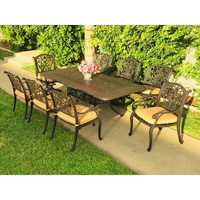 Image of Camptown 9 Piece Sunbrella Dining Set with Cushions