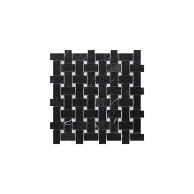 Nero Marquina Basket Weave 1 x 2 Marble Mosaic Tile in Black