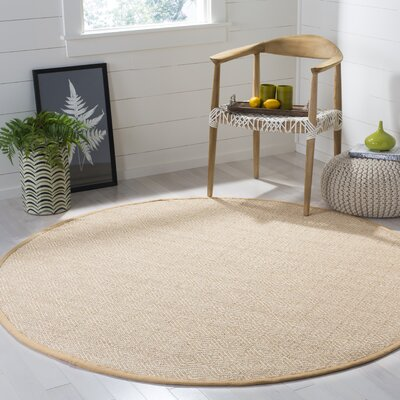 Freels Natural/Beige Area Rug Rug Size: Round 6 x 6