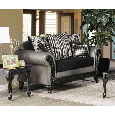 Ridings Loveseat Upholstery: Gray/Black