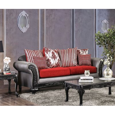 Ridings Loveseat Upholstery: Gray/Red