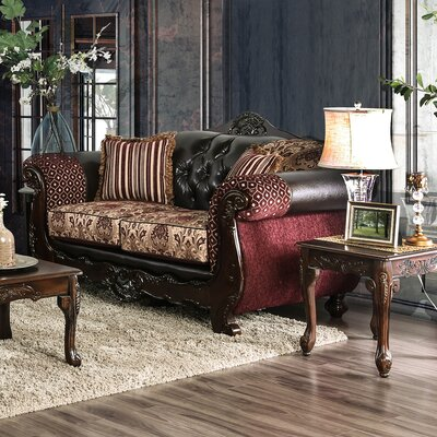 Riddles Loveseat Upholstery: Burgundy