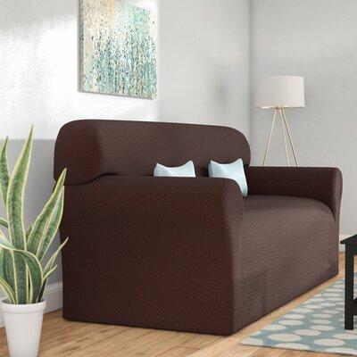 Box Cushion Sofa Slipcover Color: Chocolate
