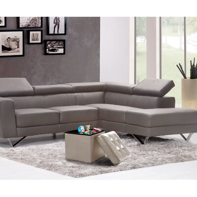 Lonon Storage Ottoman Upholstery: Taupe, Size: 15 x 30W x 15D