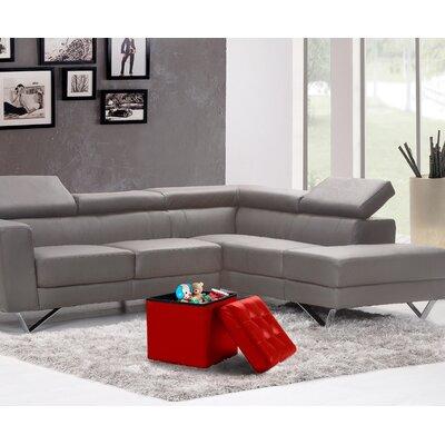 Lonon Storage Ottoman Upholstery: Burgundy, Size: 15H x 15W x 15D