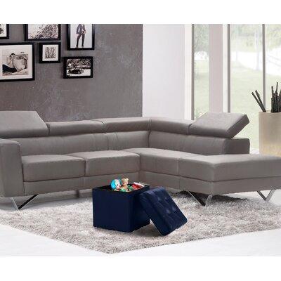 Lonon Storage Ottoman Upholstery: Navy, Size: 15H x 45W x 15D