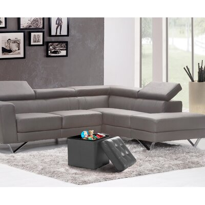 Lonon Storage Ottoman Upholstery: Gray, Size: 15 x 30W x 15D