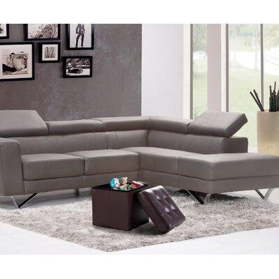 Lonon Storage Ottoman Upholstery: Brown, Size: 15H x 45W x 15D