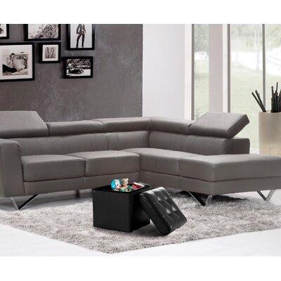 Lonon Storage Ottoman Upholstery: Black, Size: 15 x 30W x 15D