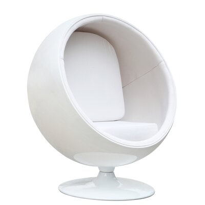 Schneider Globe Swivel Barrel Chair Upholstery: White